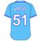 51 Jason Vargas Powder Blue Jersey Decal / Sticker