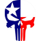 Texas Flag Punisher Decal / Sticker 61
