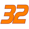 32 Race Number Decal / Sticker 3 color B