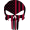 Weathered Red American Flag Punisher Decal / Sticker 170