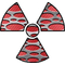 Red Carbon Fiber Punched Radiation Decal / Sticker