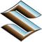 Simulated 3D Chrome Suzuki Logo Decal / Sticker