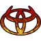 Red Flame Toyota Horns Decal / Sticker