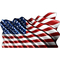 American Flag Waving Decal / Sticker 07